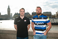 "Henry Thomas of Bath Rugby and Chris Wyles of Saracens pose for a photo along the Thames embankment. Bath Rugby Photocall for ""The Clash"" on April 3, 2017 at the London Eye in London, England. Photo by: Patrick Khachfe / Onside Images"