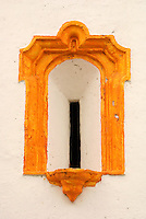 Close up of a window of La Candelaria church in the Spanish colonial town of Tlacotalpan,  Veracruz, Mexico. Tlacotalpan is a UNESCO World Heritage Site.              .