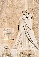 Cryptogram and Judas betrayal of Christ sculpture, Basilica Sagrada Família, Barcelona, Spain