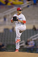 Lakewood BlueClaws relief pitcher Harold Arauz (14) in action against the Kannapolis Intimidators at Kannapolis Intimidators Stadium on April 8, 2017 in Kannapolis, North Carolina.  The BlueClaws defeated the Intimidators 8-4 in 10 innings.  (Brian Westerholt/Four Seam Images)