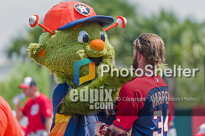 20 March 2015: Washington Nationals outfielder Bryce Harper is greeted by Houston Astros mascot Orbit prior to a Spring Training game against the Houston Astros at Osceola County Stadium in Kissimmee, Florida. The Nationals defeated the Astros 7-5 in Grapefruit League play. Mandatory Credit: Ed Wolfstein Photo *** RAW (NEF) Image File Available ***