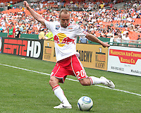 Joel Lindpere #20 of the New York Red Bulls sends over a cross during an MLS match against D.C. United on May 1 2010, at RFK Stadium in Washington D.C. Red Bulls won 2-0.