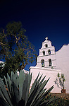 Mission San Diego de Alcala founded in 1769 white washed bell tower San Diego California USA