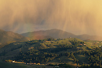 Localized rains fall lightly on Studhorse Mountain, Methow Valley Washington.