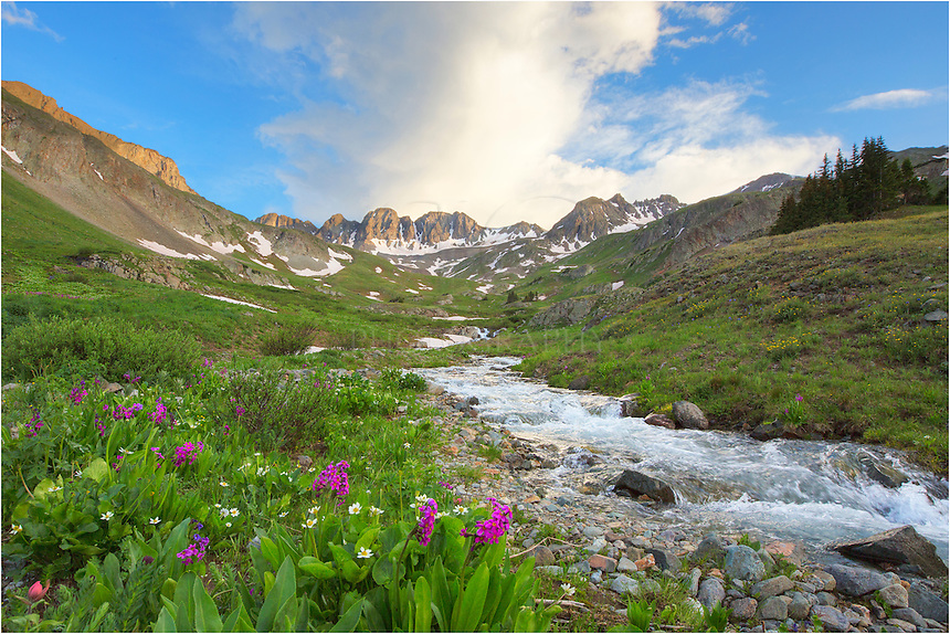 I arrived at American Basin early in the evening - maybe 2 hours before sunset. When I first arrived to photograph the wildflowers here, the skies were nearly clear. Within an hour, it was completely overcast. And at sunset, the skies broke apart for an amazing sunset. Crazy weather. <br />