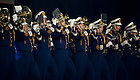 "Aug. 31, 2012; The Notre Dame Marching Band closes the ""Notre Dame a Welcome Home"" pep rally at O2 arena in Dublin...Photo by Matt Cashore/University of Notre Dame"
