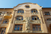 Art Nouveau (Sezession) building in the Jewish quarter. Budapest, Hungary