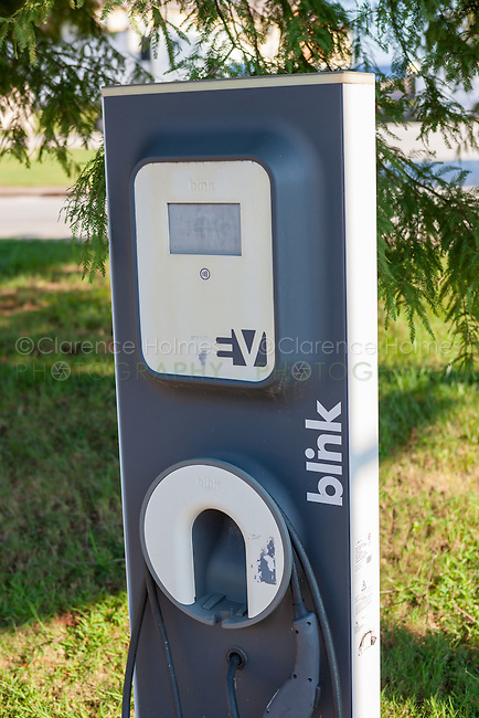A Blink EV charging station sits idle waiting for the next electric vehicle to be charged at Casey Jones Village in Jackson, Tennessee.