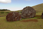Chile, Easter Island: Puna Pau, the quarry for red stone topknots that were put on the statues or moai.  Most Moai were believed to have these multi-ton hats..Photo #: ch302-33659.Photo copyright Lee Foster www.fostertravel.com lee@fostertravel.com 510-549-2202