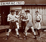 Vintage photo of men bare knuckle boxing, 1907 in North Carolina.