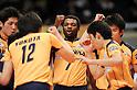 Sakai Blazers team group, Ndaki Mboulet (Blazers), MARCH 5, 2011 - Volleyball : 2010/11 Men's V.Premier League match between F.C.Tokyo 0-3 Sakai Blazers at Tokyo Metropolitan Gymnasium in Tokyo, Japan. (Photo by AZUL/AFLO).