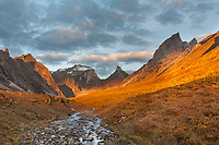 Morning light on Xanadu, Arial and Caliban peaks, Arrigetch creek, Gates of the Arctic National Park, Alaska.