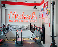 The entrance to a yet unopened Michaels arts and crafts store in the Chelsea neighborhood of New York on Friday, July 11, 2014. The company had an IPO last month on the Nasdaq exchange and operates 1263 stores with $4.6 billion in sales. This store is set to open July 18.(© Richard B. Levine)