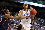 03 March 2016: Duke's Azura Stevens (11) is fouled by Virginia's Aliyah Huland El (23). The Duke University Blue Devils played the University of Virginia Cavaliers at the Greensboro Coliseum in Greensboro, North Carolina in the Atlantic Coast Conference Women's Basketball tournament and a 2015-16 NCAA Division I Women's Basketball game. Duke won the game 57-53.