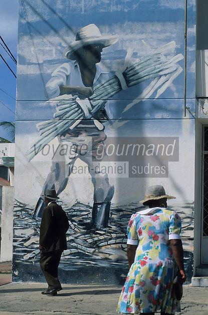 Europe/France/DOM/Antilles/Petites Antilles/Guadeloupe/Saint-François : Mur peint représentant un coupeur de canne à sucre