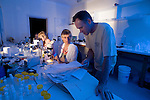 Charlotte Watson, Chris Glasby, Magda Blazewicz and Niel Bruce share a lab full of microscopes and their collected specimens in Lizard Island Research Station