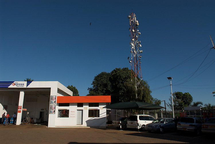The many hills of Kampala make line-of-sight microwave links practical. This tower is close to the Zain network operator's headquaters.