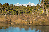 Mt. Cook and Mt. Tasman of Southern Alps as seen from Gillespies Lagoon, Westland National Park, West Coast, World Heritage Area, South Westland, New Zealand