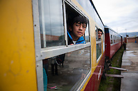 Passengers wait for the departure of the train at Chilca Station in Huancayo.