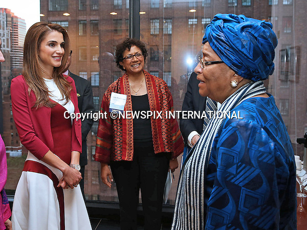QUEEN RANIA AND LIBERIAN PRESIDENT ELLEN JOHNSON SIRLEAF<br /> meet at the Global Education First Initiative reception in New York_25/09/2013<br /> Mandatory Photo Credit: &copy;Royal Hashemite Court/NEWSPIX INTERNATIONAL<br /> <br /> **ALL FEES PAYABLE TO: &quot;NEWSPIX INTERNATIONAL&quot;**<br /> <br /> PHOTO CREDIT MANDATORY!!: NEWSPIX INTERNATIONAL(Failure to credit will incur a surcharge of 100% of reproduction fees)<br /> <br /> IMMEDIATE CONFIRMATION OF USAGE REQUIRED:<br /> Newspix International, 31 Chinnery Hill, Bishop's Stortford, ENGLAND CM23 3PS<br /> Tel:+441279 324672  ; Fax: +441279656877<br /> Mobile:  0777568 1153<br /> e-mail: info@newspixinternational.co.uk