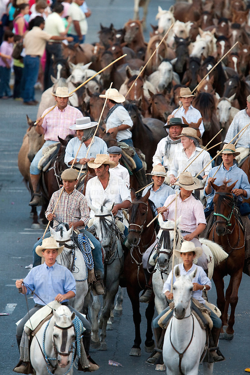 """Saca de las yeguas"" festival, town of Almonte, province of Huelva, Andalusia, Spain. Dating back to 1504, every 26th of June, the ""yegüerizos"" (cowboys or riders who look after the herds) gather and take the wild mares and colts out of Doñana marshland, where they have been freely grazing in the winter, and lead the ""tropas"" (herds) to the town of Almonte."