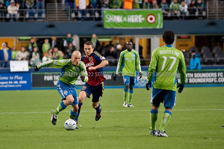 3/28/2009--Seattle, WA, USA..Freddie Ljungber (left) of the Seattle Sounders FC during the game against Real Salt Lake at Qwest Field in Seattle. The Seattle Sounders FC beat Real Salt Lake city 2-0 in their second game of the season played to a soldout crowd of 28,548 at Qwest Field..©2009 Stuart Isett. All rights reserved.