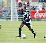 19 June 2004: Angela Hucles. The Washington Freedom tied the Boston Breakers 3-3 at the National Sports Center in Blaine, MN in Womens United Soccer Association soccer game featuring guest players from other teams.