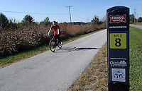 NWA Democrat-Gazette/FLIP PUTTHOFF <br /> Mile markers help riders    Oct. 23 2016   track their distance.