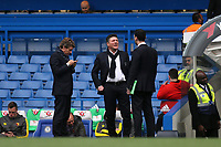 Watford Manager, Walter Mazzarri in conversation on the pitch pre-match during Chelsea vs Watford, Premier League Football at Stamford Bridge on 15th May 2017