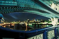London skyline at night from Tower Bridge. London, England. London, England.