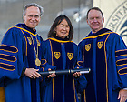 May 18, 2014; University of Notre Dame president Rev. John Jenkins, C.S.C., left, and Notre Dame Board of Trustees chairman Richard Notebaert, right, present an honorary degree to Evelyn Hu at the 2014 Commencement ceremony in Notre Dame Stadium.<br /> <br /> Photo by Matt Cashore/University of Notre Dame