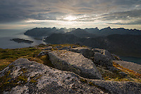 View from mountain ridge across landscape, Tønsåsheia, Lofoten Islands, Norway