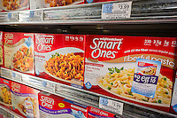 Smart Ones brand Weight Watchers frozen meals in a supermarket freezer in New York on Monday, July 6, 2015. Weight Watchers is reported to have attracted the attention of an undisclosed hedge fund interested in a takeover of the weight loss firm. (© Richard B. Levine)