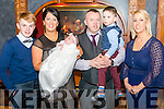 Denise and Brenday Cronin from Gneeveguilla celebrated christening of their daughter Leah in the Avenue Hotel, Killarney last Saturday. Pictured with there son Nathan and god parents Edele Mc Sweeney and Evan Cronin.