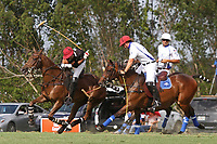 WELLINGTON, FL - APRIL 15:  Palm Beach Illustrated's Agustin Oregon (dark jersey) controls the line of the ball down the field of the $100,000 World Cup Final, at the Grand Champions Polo Club, on April 15, 2017 in Wellington, Florida. (Photo by Liz Lamont/Eclipse Sportswire/Getty Images)