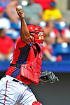 12 March 2012: Washington Nationals catcher Carlos Maldonado in action during a Spring Training game against the St. Louis Cardinals at Space Coast Stadium in Viera, Florida. The Nationals defeated the Cardinals 8-4 in Grapefruit League play. Mandatory Credit: Ed Wolfstein Photo