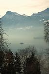 Lake and mountains Stätter See Beckenried, Luzern area, Switzerland.