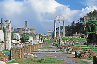 Italy: Rome--Roman Forum. Basilica Julia in right foreground. Temple of Castor and Pollux in back.