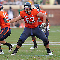 Sept. 3, 2011 - Charlottesville, Virginia - USA; Virginia Cavaliers guard Austin Pasztor (63) holds the line during an NCAA football game against William & Mary at Scott Stadium. Virginia won 40-3. (Credit Image: © Andrew Shurtleff