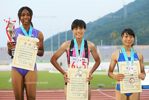 (L to R)  Iyoba Edber, Sayaka Shibayama, Kaho Nishio, JULY 30, 2015 - Athletics : 2015 All-Japan Inter High School Championships, Women's 100m Award Ceremony at Kimiidera Athletic Stadium, Wakayama, Japan. (Photo by YUTAKA/AFLO SPORT)