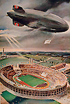 The Hindenburg over the 1936 Munich Olympic Stadium (Nazi Germany)