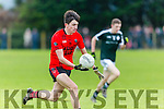 In Action Glenbeigh-Glencar' s Jack Brosnan  in the  AIB Munster Junior Club Football Championship Semi-Final – Glenbeigh-Glencar (Kerry) v Gerald Griffins (Limerick) at Gerald Griffins GAA Club, Ballyhahill on Saturday