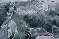 Aerial view of newly formed sea ice in the Bering Sea.