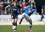 St Johnstone v Dundee....11.04.15   SPFL<br /> Simon Ferry holds off Michael O'Halloran<br /> Picture by Graeme Hart.<br /> Copyright Perthshire Picture Agency<br /> Tel: 01738 623350  Mobile: 07990 594431