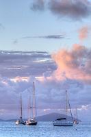 Sailboats at anchor at dusk<br /> From Francis Bay<br /> St. John<br /> U.S. Virgin Islands