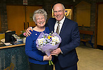 St Johnstone v Partick Thistle&hellip;02.03.16  SPFL McDiarmid Park, Perth<br />Ex saints manager Alex Totten presents flowers to Margaret McGlashan her 68th birthday<br />Picture by Graeme Hart.<br />Copyright Perthshire Picture Agency<br />Tel: 01738 623350  Mobile: 07990 594431