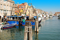 Boats in Italian coast near Venice