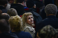 A Trump supporter inside the Synergy Flight Center to hear Republican front runner Donald Trump speak in Bloomington, Illinois on March 13, 2016.