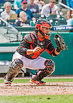 10 March 2015: Miami Marlins catcher Jhonatan Solano in Spring Training action against the Washington Nationals at Roger Dean Stadium in Jupiter, Florida. The Marlins edged out the Nationals 2-1 on a walk-off solo home run in the 9th inning of Grapefruit League play. Mandatory Credit: Ed Wolfstein Photo *** RAW (NEF) Image File Available ***