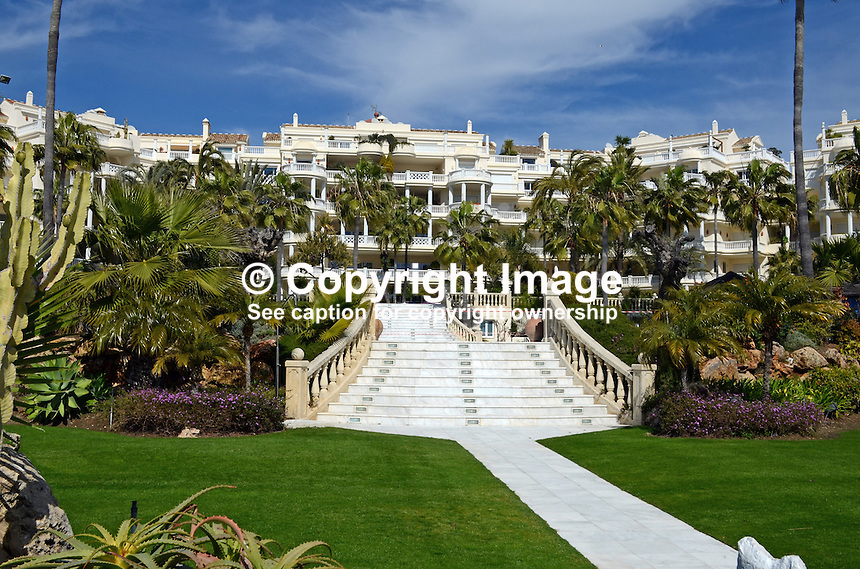 Las Dunas Hotel, Estepona, Malaga Province, Spain, facade facing sea, 201302241181..Copyright Image from Victor Patterson, 54 Dorchester Park, Belfast, UK, BT9 6RJ..Tel: +44 28 9066 1296.Mob: +44 7802 353836.Voicemail +44 20 8816 7153.Skype: victorpattersonbelfast.Email: victorpatterson@me.com.Email: victorpatterson@ireland.com (back-up)..IMPORTANT: If you wish to use this image or any other of my images please go to www.victorpatterson.com and click on the Terms & Conditions. Then contact me by email or phone with the reference number(s) of the image(s) concerned.